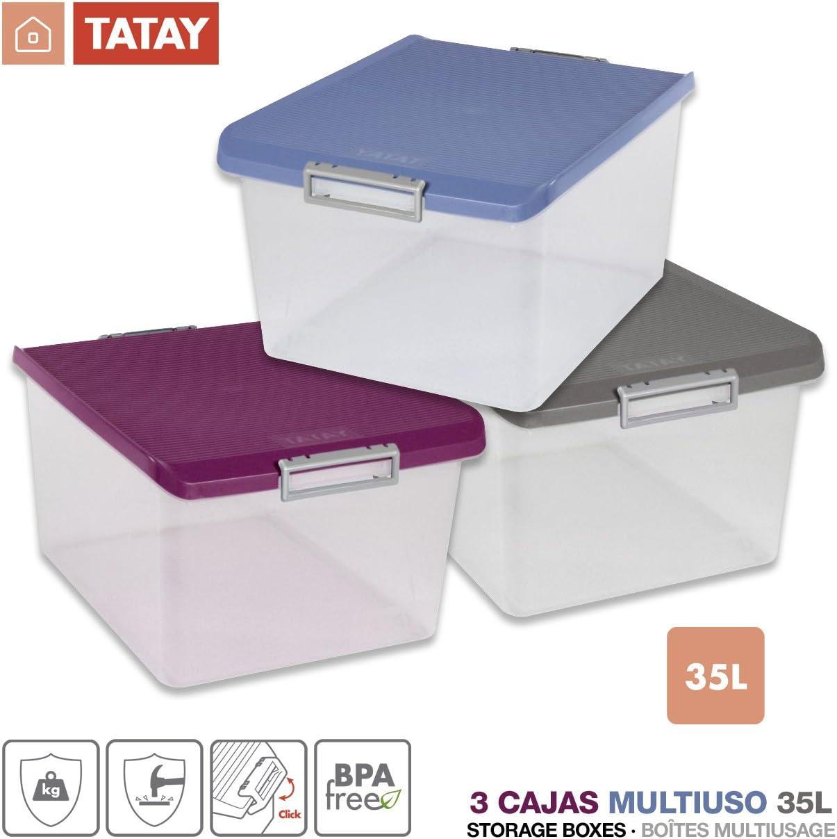 TATAY Lote 3 Cajas Multiusos 35 Litros Medidas 48 x 38 x 26 cm Color (Tricolor): Amazon.es: Hogar