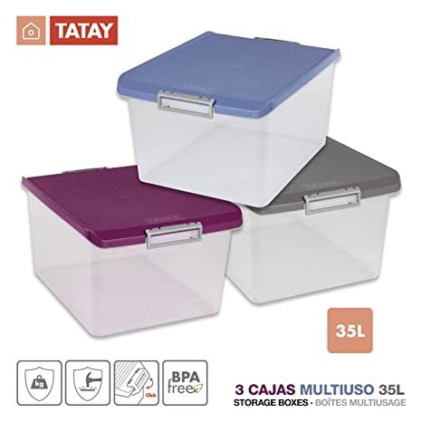 TATAY Lote 3 Cajas Multiusos 35 Litros Medidas 48 x 38 x 26 cm Color (