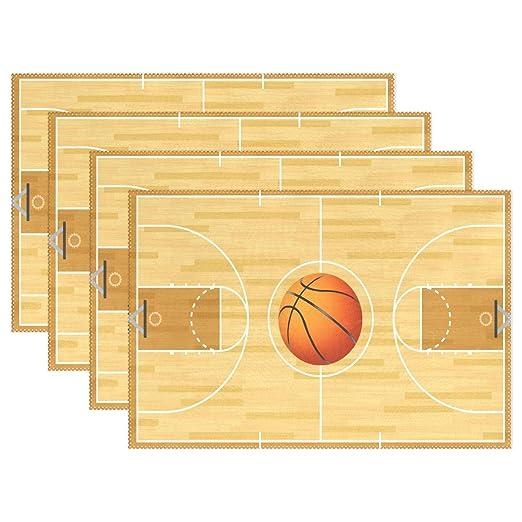 Cartoon cancha de baloncesto antideslizante manteles individuales ...