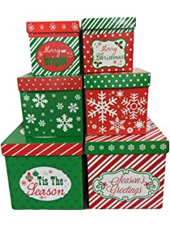 6 christmas gift boxes w lids nesting tiered cubes for display or presents
