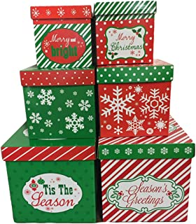6 Christmas Gift Boxes w/ Lids Nesting Tiered Cubes for Display or Presents  sc 1 st  Amazon.com & Amazon.com: Christmas Gift Boxes; Glitter accents 1 Large box ... Aboutintivar.Com