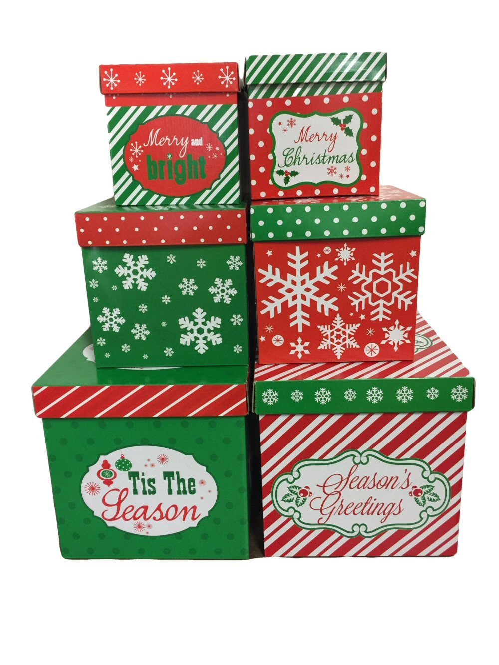 Amazon Com 6 Christmas Gift Boxes W Lids Nesting Tiered Cubes For