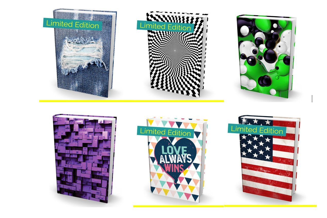 """Book Sox 6 Limited Edition Stylish 2018 Stretchable Book Covers –Durable Hardcover Protector For 9""""x11"""" Jumbo Textbooks –Washable Non-Adhesive Nylon Fabric School Book Jackets In Many Colors & Designs"""