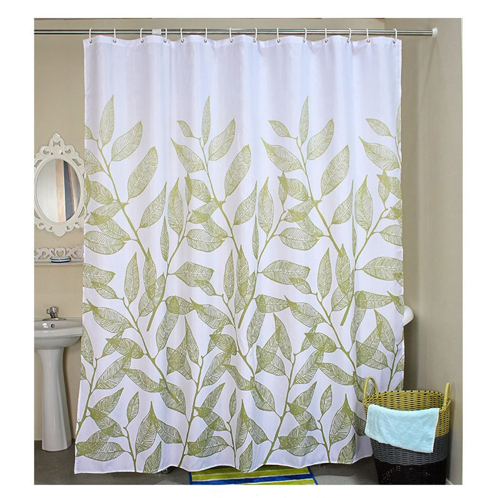 Fabric Shower Curtain Liner Bathroom Decorative Waterproof Polyester with 12 Hooks Mildew resistant Machine Washable 180cm x 180cm (Blue Wave) GreeSuit YSCL00125