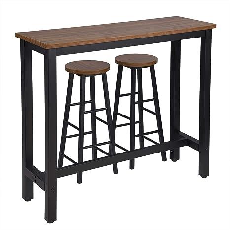WOLTU Set Mesa de Bar y 2 uds. Taburete de Bar Muebles Cocina Silla de Comedor para Salon Cocina Mesa 120x40x100 cm Estructura de Metal, MDF Haya ...
