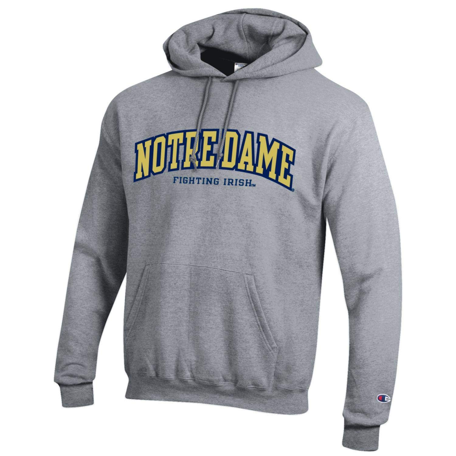 Champion NCAA Men's ECO Power Blend Hooded Sweatshirt with Tackle Twill Embroidered Lettering Classic Heather Grey