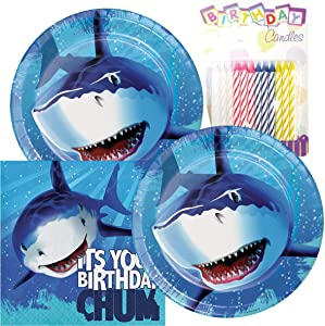 Shark Splash Happy Birthday Theme Plates and Napkins Serves 16 With Birthday Candles