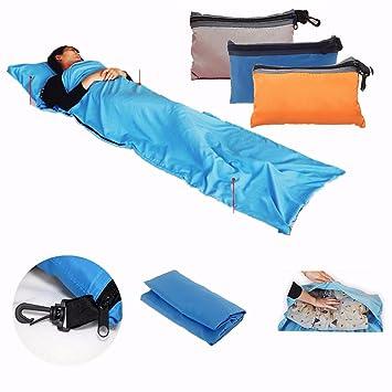 CAMTOA individual Liner Sleep Sack, portátil ultraligero Viaje Salute Saco de dormir con manga Cojín