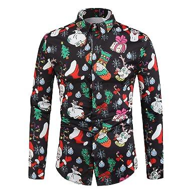 ACEBABY Camisas Hombre Moda Slim Fit Manga Larga Impresión Navidad Camisa Estampada de Papá Noel Top Negro: Amazon.es: Ropa y accesorios