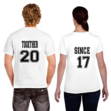 1b02c6ff15 Ritzees Unisex Polyester Printed Couple T-Shirt, White: Amazon.in: Clothing  & Accessories
