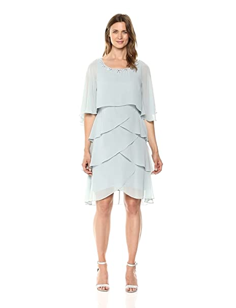 1920s Day Dresses, Tea Dresses, Mature Dresses with Sleeves S.L. Fashions Womens Capelet Tier Dress $109.00 AT vintagedancer.com
