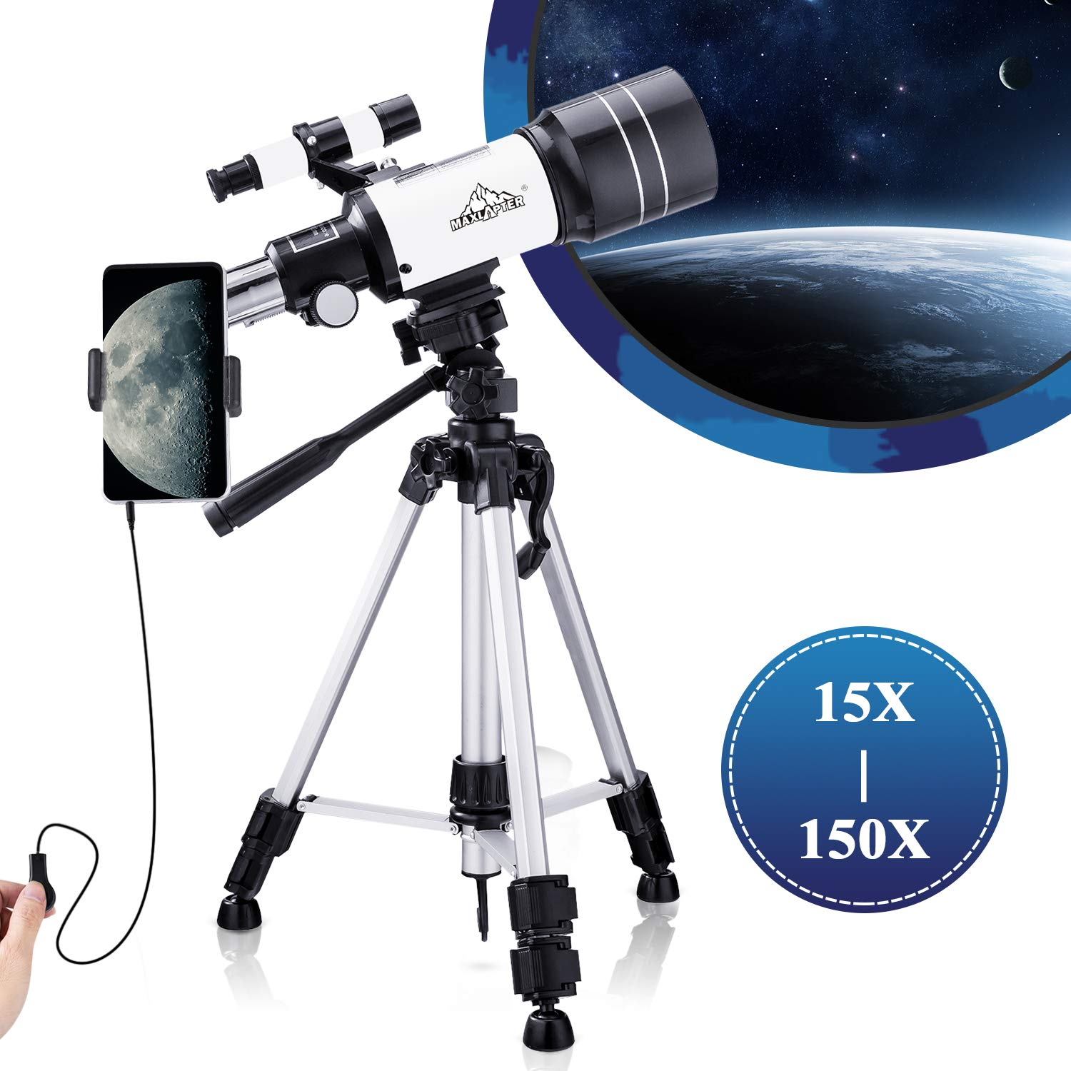Telescope for Kids Beginners,150X Astronomy Monocular Telescopes 300/70mm with Phone Adapter, Camera Wire Shutter, Moon Filter and Backpack