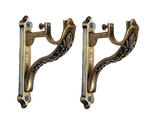 JAKABA Zinc Antique Brass Designer Heavy Supports (for Single Rod 1 Inch) - 1 Pair (2 Pcs) : Curtain Brackets/Holders - JKBATQSUP-JAGUAR-01