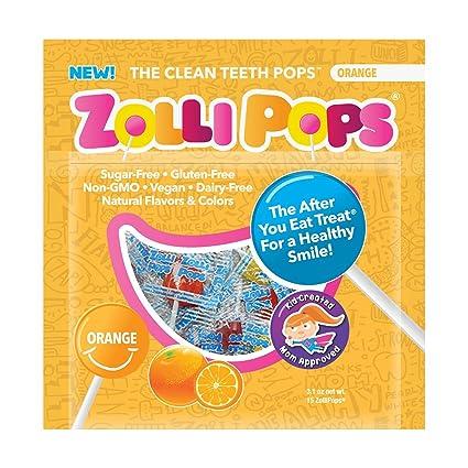 Zollipops - Los dientes limpios chupetes naranja - 15Unidades ...