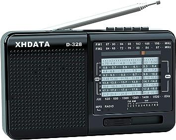 Oferta amazon: XHDATA D-328 Radio Portátil radio multibanda Soporte de Reproductor de MP3 Tarjeta TF FM AM SW Radio de banda Completa (Negro)
