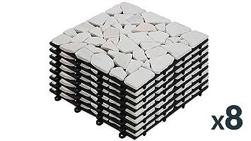 Oviala 8 Dalles de terrasse clipsables en Galets de marbre Blanc ...