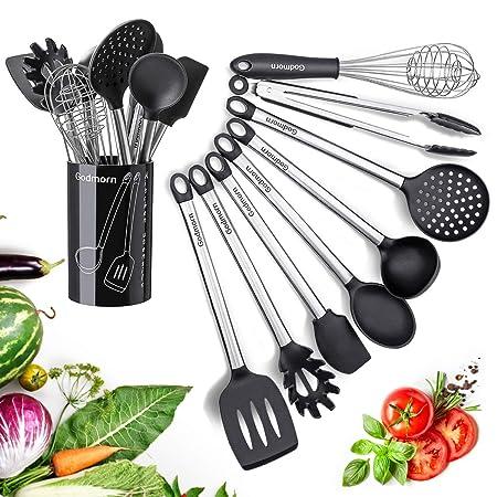 Silikon Küchenhelfer Set, Godmorn Küchenutensilien 8+1, Silikon & Edelstahl-Kit, Zange, Spaghettilöffel, Spatel, Kochlöffel,