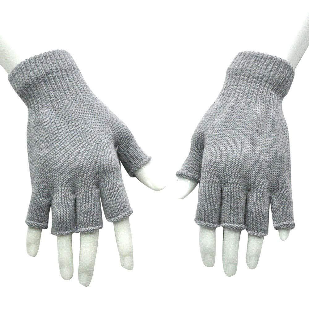 bobo4818 Unisex Handschuhe F/äUstlinge Fingerlose Gestrickte H/äKeln Halbfinger Erwachsene Warme Winter Weich Geschenk