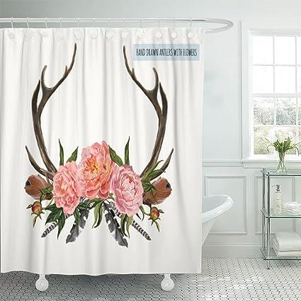 Emvency Shower Curtain Beautiful Of Horns With Flowers Boho Chic Style Design Deer Antlers Peonies Leaves