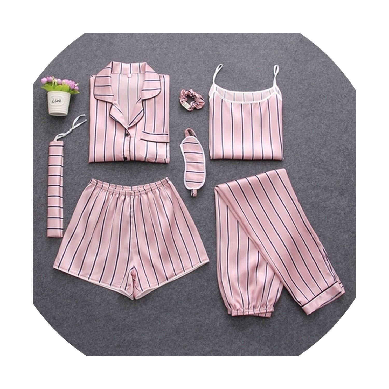 1 Pink stripes Satin Silk Lingerie Homewear Sleepwear Pyjamas Set Pijamas for Woman