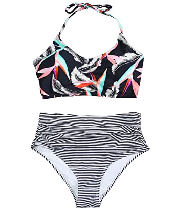 17ff150040 Funnygirl Women's Bikini Set Floral Criss Cross Back Lace up Top Stripe  Ruched Tummy Control Bottom
