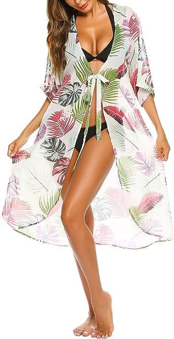 Balancora Damen Bikini Cover up Strandkleid Wickelrock Mit G/ürtel leichte Chiffon Strandrock
