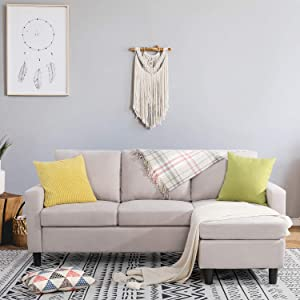 Shintenchi Convertible Sectional Sofa Couch, Modern Linen Fabric L-Shaped Couch 3-Seat Sofa Sectional with Reversible Chaise for Small Living Room, Apartment and Small Space (Beige)