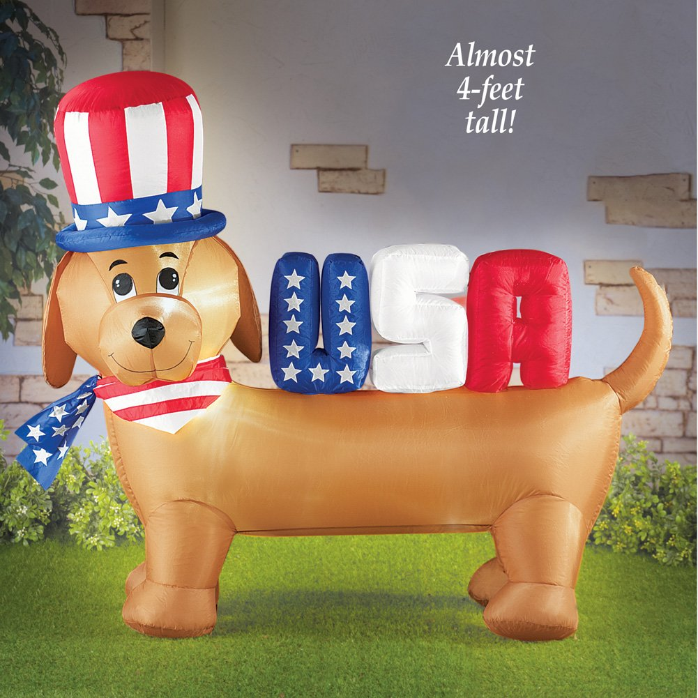 Dachshund Dog Inflatable USA Patriotic 4th Of July Garden Yard Outside Decoration