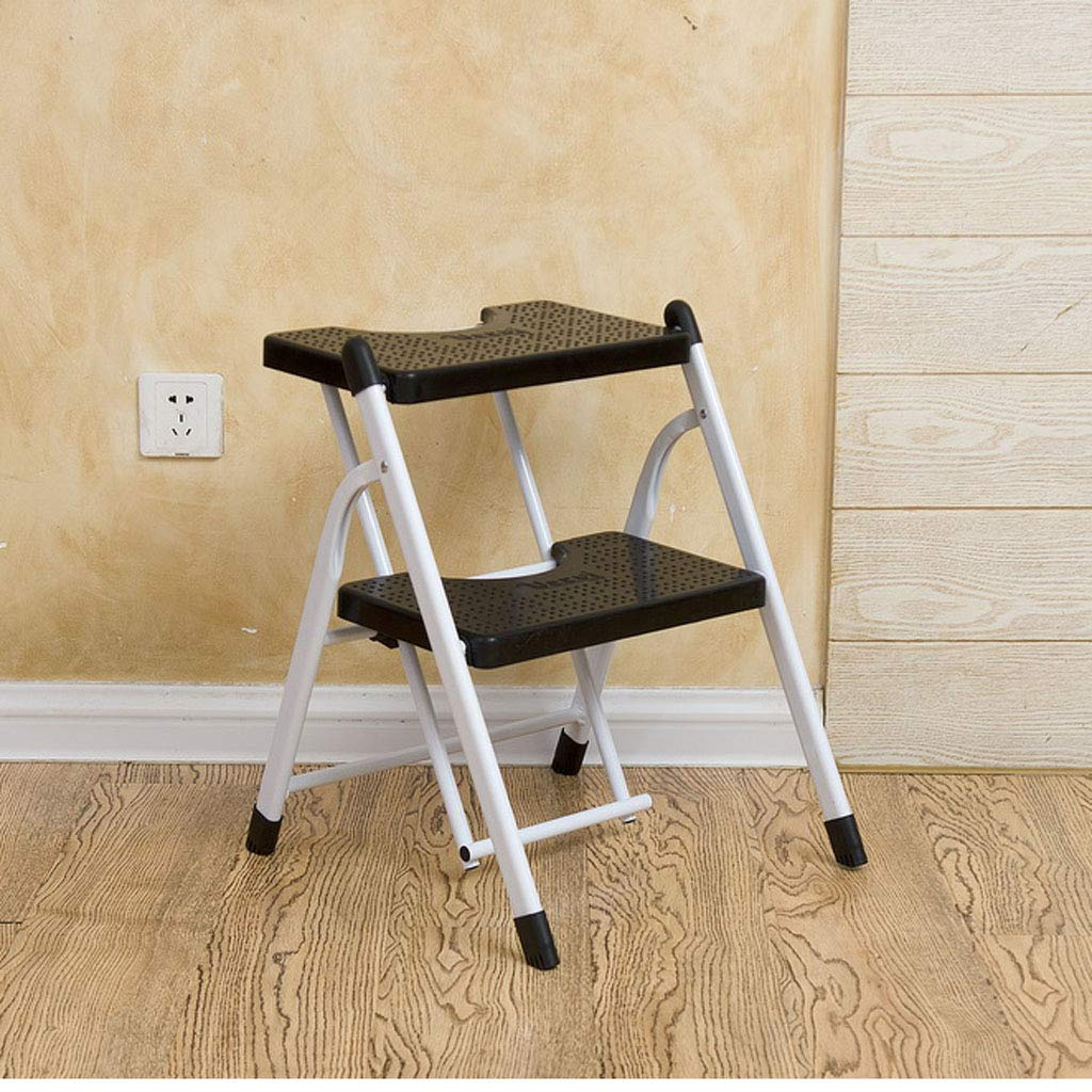 E CIGONG Step Stool Foldable Heavy Steel Step Ladder 2-Step Multi-Function Portable with Anti-Slip Mat Assembly Simple Ladder, 5 colors Step Stool (color   A)