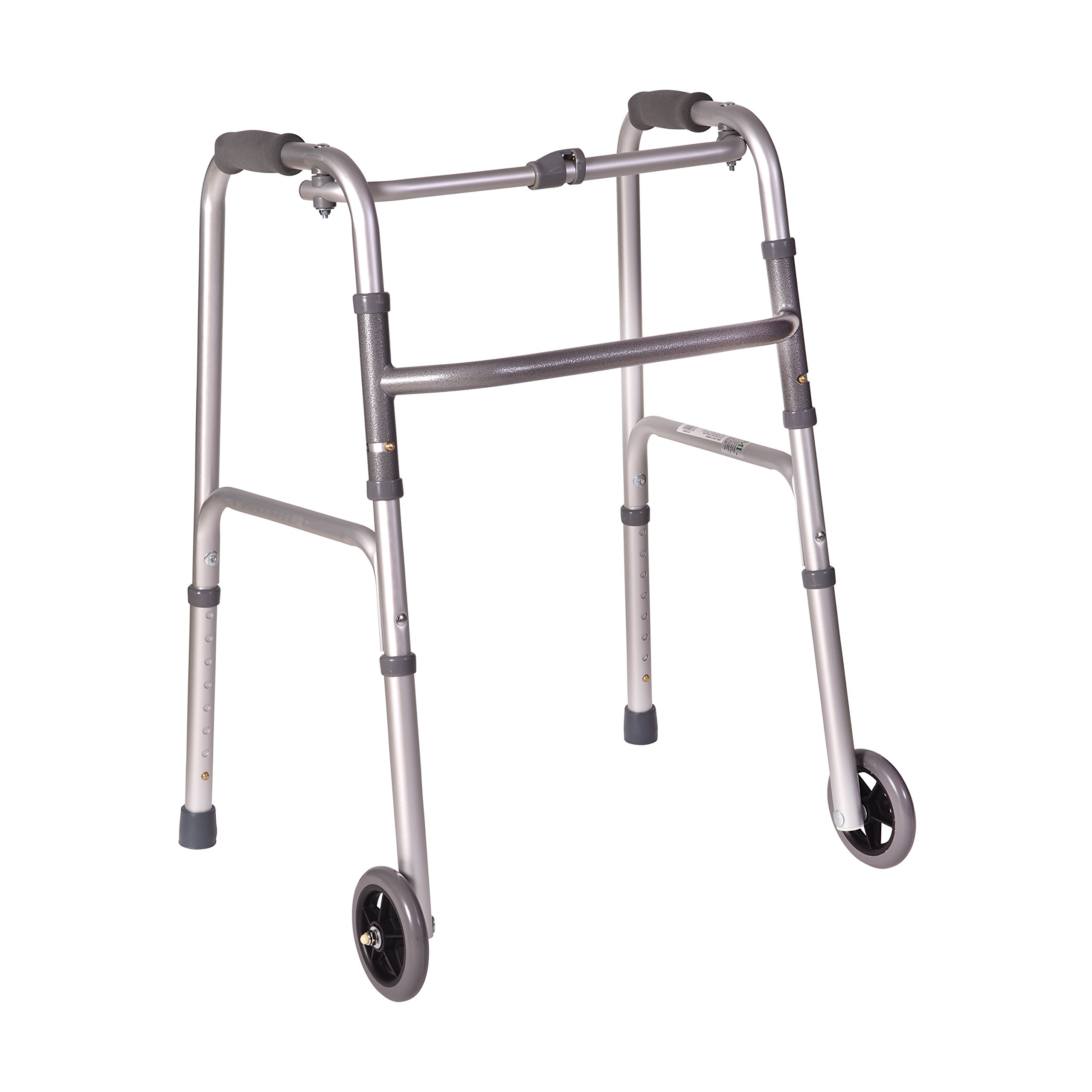 DMI Lightweight Aluminum Folding Walker with Single Release, 5 Inch Wheels, Adjustable Height, No Assembly Needed, Silver, 250 lbs by Duro-Med