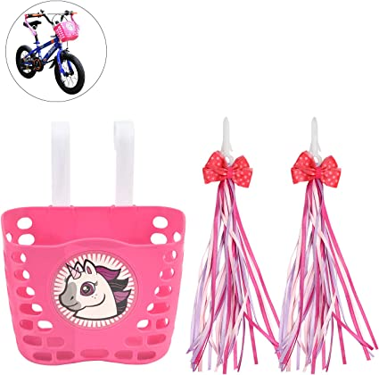 Bicycle Scooter Basket Tricycle Plastic Shopping Holder /& Tassel Streamer