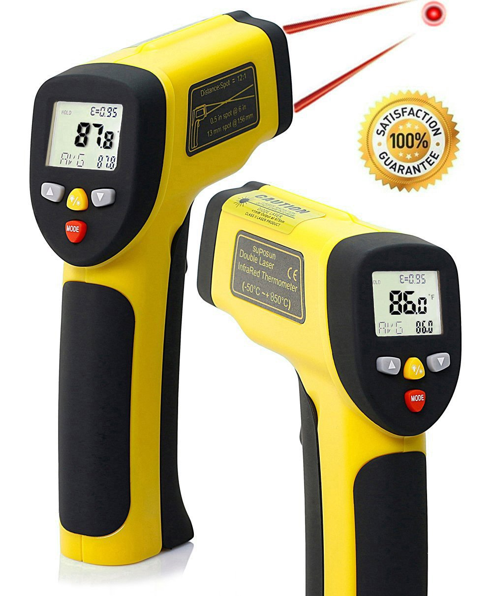 Suposun Dual Laser Infrared Thermometer,Non-Contact Accurate Digital Surface IR Temperature Gun, -58°F to 1562°F Range,Multi-Function Non-Slip Yellow+Black Fasion Design