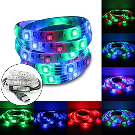 SZMiNiLED USB LED Strip Lights RGB 3528 60Leds/M Led Flexible Strips  Waterproof Dc5V Pack
