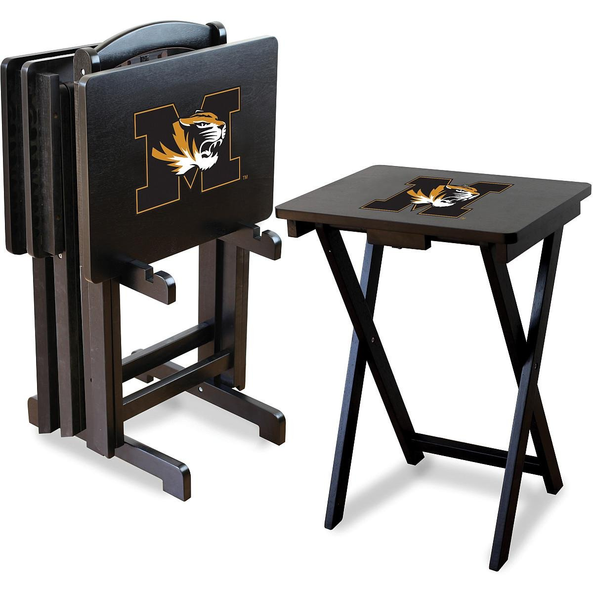 Imperial Officially Licensed NCAA Merchandise: Foldable Wood TV Tray Table Set with Stand, Missouri Tigers by Imperial