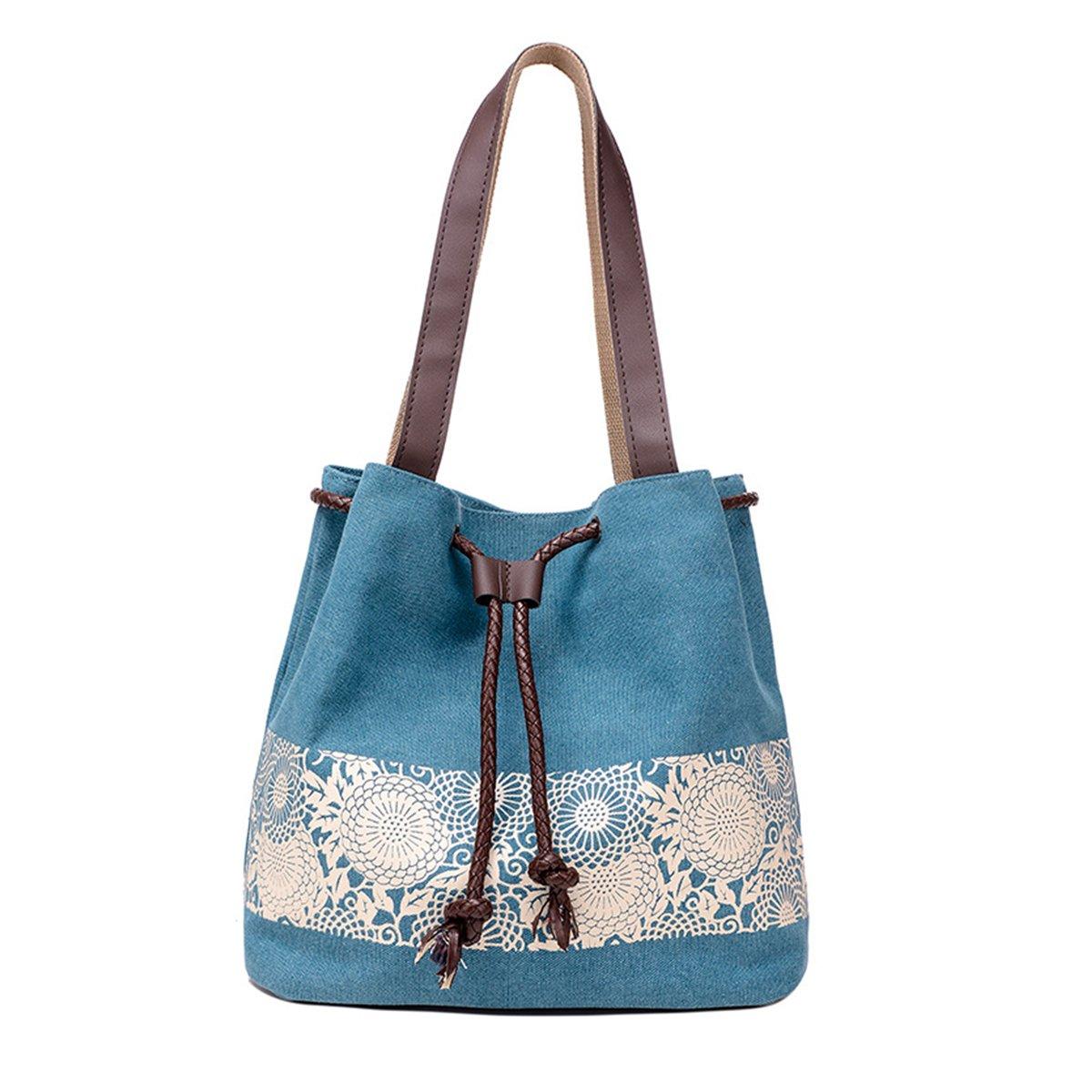 Evaliana Large Capacity Canvas Summer Beach Tote Bag Shopping Handbag Drawstring Bags