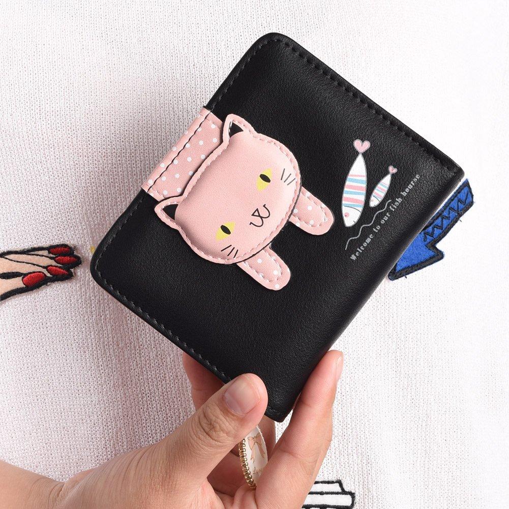Vbiger Geldbörse Mädchen Kleine Geldbeutel Portemonnaie Damen Niedliche Katzen Muster Geldbörse für Kinder Schwarz