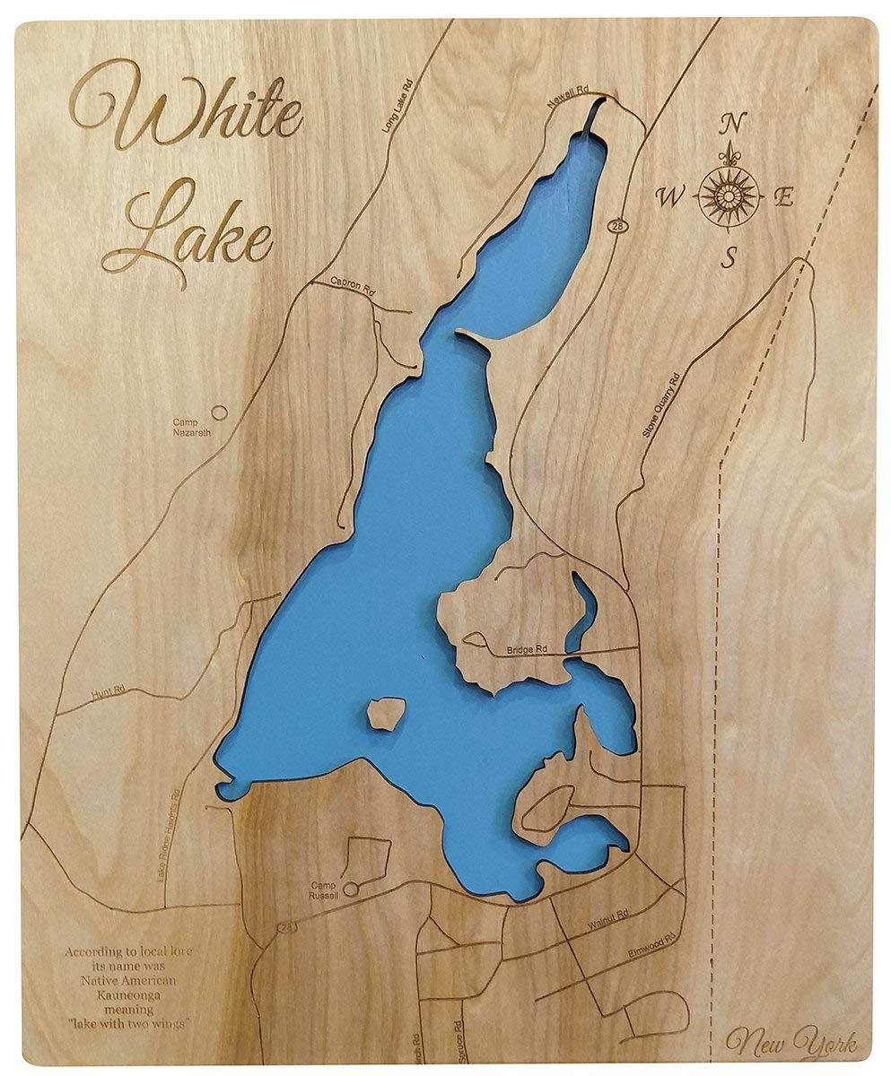 white lake ny map Amazon Com White Lake New York Standout Wood Map Wall Hanging Handmade white lake ny map