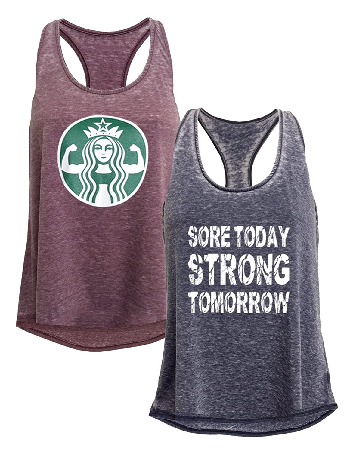 Tough Cookie's Women's Mineral Wash Burnout Tank Top Workout Print 2 Pack Deal