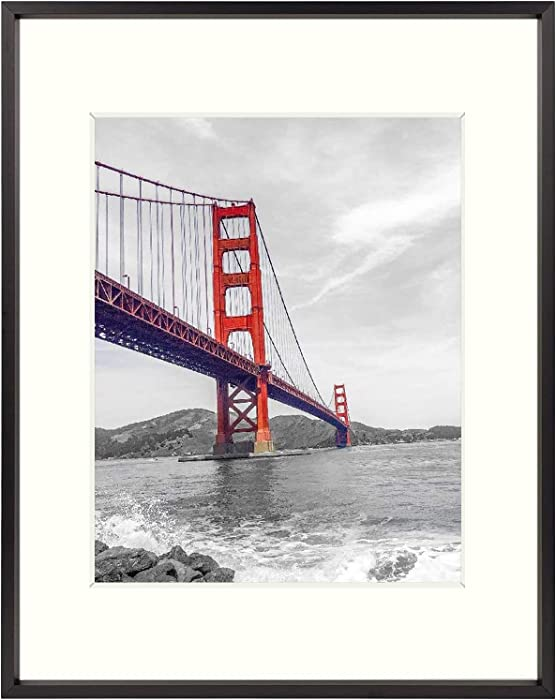 Frametory, 11x14 Aluminum Photo Frame with Ivory Color Mat for 8x10 Picture & Real Glass, Metal Picture Frame Collection (Black, Pack of 1)