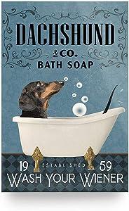 """Dachshund In Bath Tub Bathroom Established Wash Your Wiener Poster Gift for Men Women, On Birthday Xmas, Art Print Size 12""""x18"""" 16""""x24"""" 24""""x36"""""""