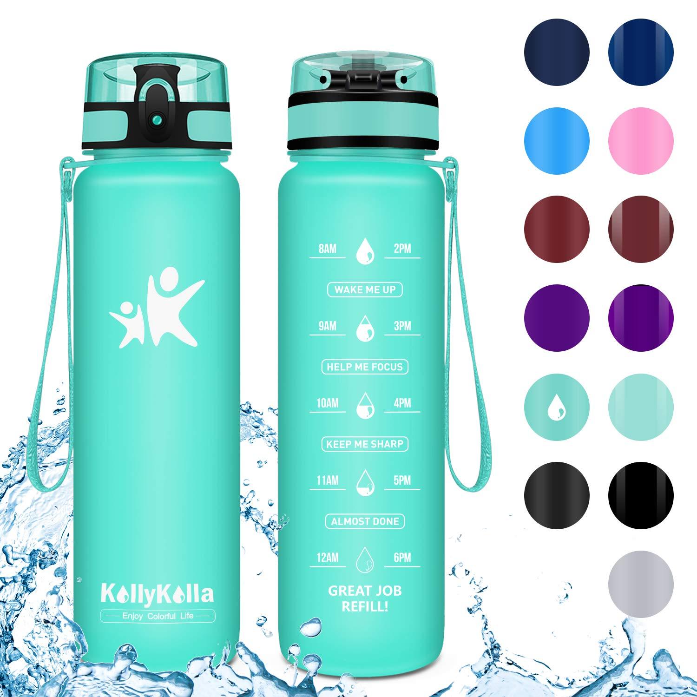 KollyKolla Botella Agua Sin BPA Deportes - 350ml/500ml/800ml/1L, Reutilizables Ecológica Tritan Plástico, Bebidas Botellas con Filtro & Marcador de ...