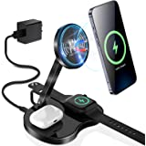 KKM 3 in 1 Wireless Charging Station, Qi Certified 18W Magnetic Fast Wireless Charger with QC3.0 Adapter Compatible for iPhon