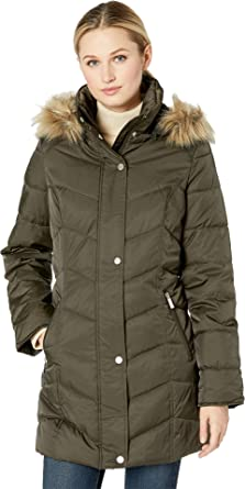 96c002867604 Kenneth Cole New York Women's 3/4 Chevron Quilted Puffer w/Faux Fur Trimmed
