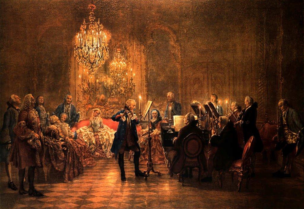 Kunstdruck/Poster: Adolph Friedrich Erdmann von Menzel Flötenkonzert Friedrichs des Großen in Sanssouci - hochwertiger Druck, Bild, Kunstposter, 100x70 cm
