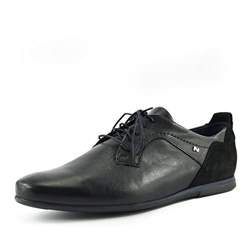 30864669d3d7 Kick Footwear Mens Black-Navy Smart Leather Upper Casual Formal Lace up  Shoes: Amazon.co.uk: Shoes & Bags