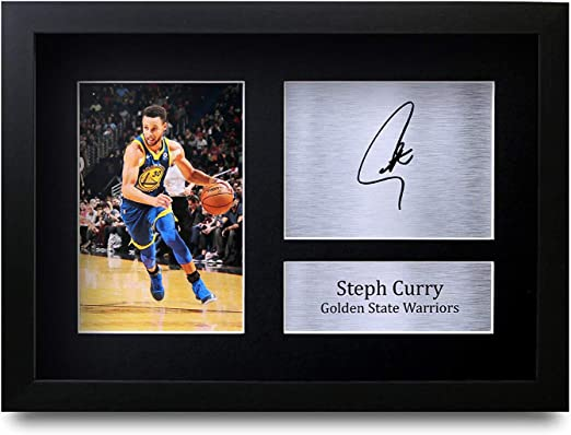HWC Trading FR Stephen Steph Curry Gift Signed FRAMED A4 Printed Autograph Golden State Warriors Gifts Photo Display