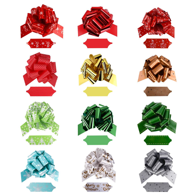 Gifort Fiocchi e nastri natalizi 12 colori assortiti fiocchi regalo confezione e 90 adesivi regalo autoadesivi per decorazioni Regalo di Natale Fiocchi Regalo Di Natale e Adesivi Per Etichette Regalo