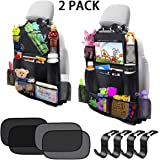 Car Backseat Organizer 2 Pack 11 Storage Pockets Kick Mats with 10'' Touch Screen Tablet Holder Car Seat Back Protector…