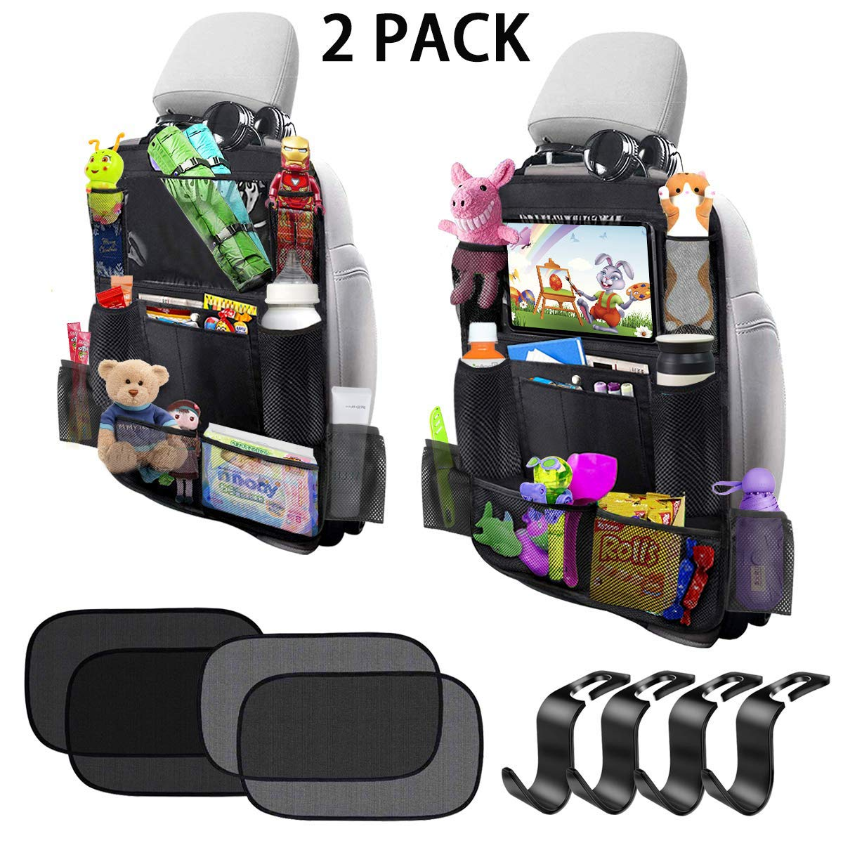 Car Backseat Organizer 2 Pack 11 Storage Pockets Kick Mats with 10'' Touch Screen Tablet Holder Car Seat Back Protector Travel Accessories for Kids Toy Thermal Insulated Pockets Strong Buckle by CHAREADA