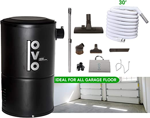 Amazon Com Ovo Compact And Powerful Central Vacuum System 550aw Use With Disposable Bags 18l Or 4 75gal And 30 Ft Garage Accessory Kit Included Condo Vac Black Home Kitchen
